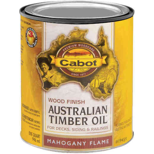 Cabot Australian Timber Oil Water Reducible Translucent Exterior Oil Finish, Mahogany Flame, 1 Qt.